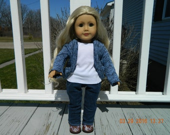 18 Inch Doll Blue Sweater Outfit