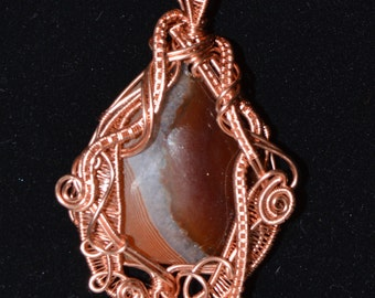 Botswana agate cabochon pendant wire wrapped in copper