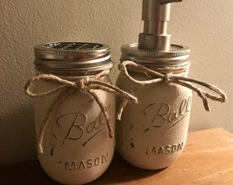 Mason Jar Soap Dispenser and Toothbrush holder