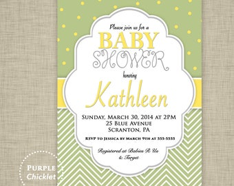 Yellow and Green Baby Shower Invitation Gender Neutral Invite Chevron Polkadots Birthday Party Invite Printable JPG File Invite (25a)
