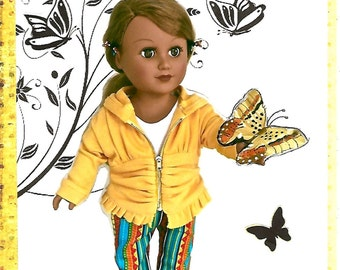Ruched marigold doll hoodie, white doll tee shirt, multi colored doll jeans, blue denim doll shoes. 18 INCH DOLL CLOTHES.