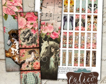 Wild Horses, Digital, Collage Sheet, Matchstick Images, 12x50mm, Cowgirl Images, Images for Earrings, Art Strips, Pendant Images, Digital