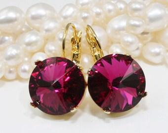 Fuchsia Earrings Pink Crystal Earrings Hot Pink Berry Crystal Fuchsia Drop earrings Berry Fuchsia wedding,14mm Swarovski,Fuchsia,Gold,GE106