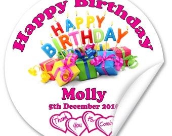 Personalised Birthday Stickers / Seals, Full Colour Gloss 38mm, Girl