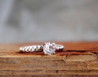 Engagement Ring White topaz  Gemstone Ring Stack Ring Sparkling Ring Alternative diamond