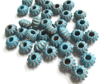 Turquoise Aqua Acrylic Beads 6mm x 4mm Fluted Rondelles - 36 Pieces