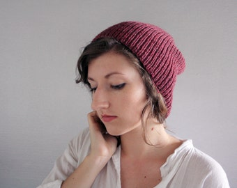 Ready to Ship - Slouchy Wool Beanie Hat in Mulberry Purple - Womens, Mens, Teens