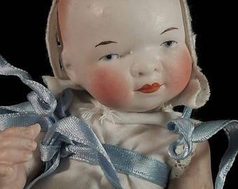 Antique German all bisque porcelain doll, porcelain head doll, baby doll, German doll