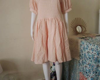 SALE** Vintage checked drop waist dress with wide sailor collar 1990s 90s made in Finland **SALE