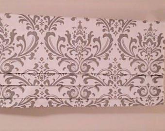 Custom Faux Roman Shade Traditions Damask Gray White