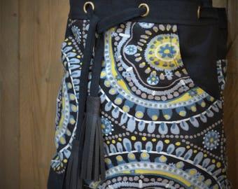 bucket bag / geometric bag / adjustable shoulder strap / ethnic bag / Boho Bag / gift for her / bee kouz / trendy bag / Christmas gift