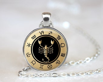 Zodiac Sign Scorpio Black Glass Pendant/Necklace/Keychain
