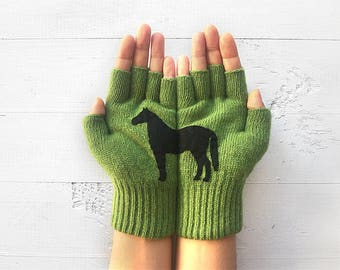 Animal Gloves, Horse Gloves, Wildlife Kingdom, Sale Event, Horse Lovers Gift, Women Gloves, Wildlife Gift, Horse Gift, Half Finger Gloves