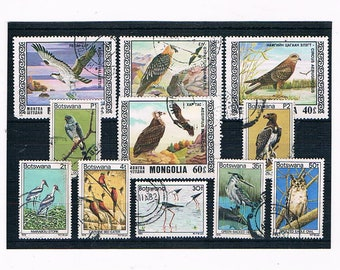 Birds on Postage Stamps - stork, heron, owl, birds of prey | vintage topical thematic postal stamps for craft, decoupage, collection