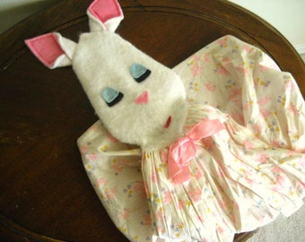 Vintage Felt Bunny and Floral Fabric Diaper Holder/Hamper- Nursery Decor