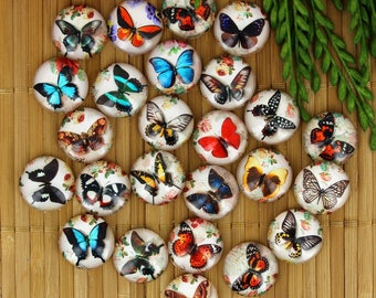 Set of 25 cabochons 16mm glass, butterflies, ZC77