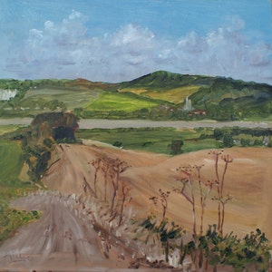Footpath to River - framed plein air landscape oil painting made on location in Kent, UK using artist quality oils on MDF brushwork