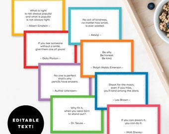 Editable Note Cards Template - Great for Lunch Box Notes, Quotes, Jokes, Gift Tags, Labels, & More - Instant Download