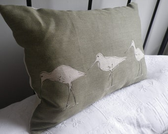 hand printed and stitched muted sea green triple wading bird cushion cover