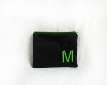 Black Makeup bag - Monogrammed Cosmetic bag - Personalized Black Clutch - Bridesmaid clutches - Small