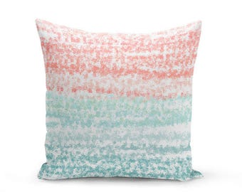 Coral Teal Pillow Cover, Coral Decor, Teal Decor, Accent Pillow Cover, Coral Teal Aqua (A20) Decorative Pillow Cover Euro Sham Cover