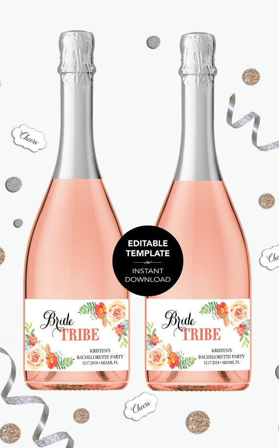 EDITABLE Mini Champagne Bottle Labels TEMPLATE Bride Tribe