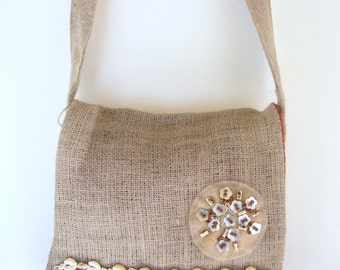 Burlap Messenger Bag With Shells