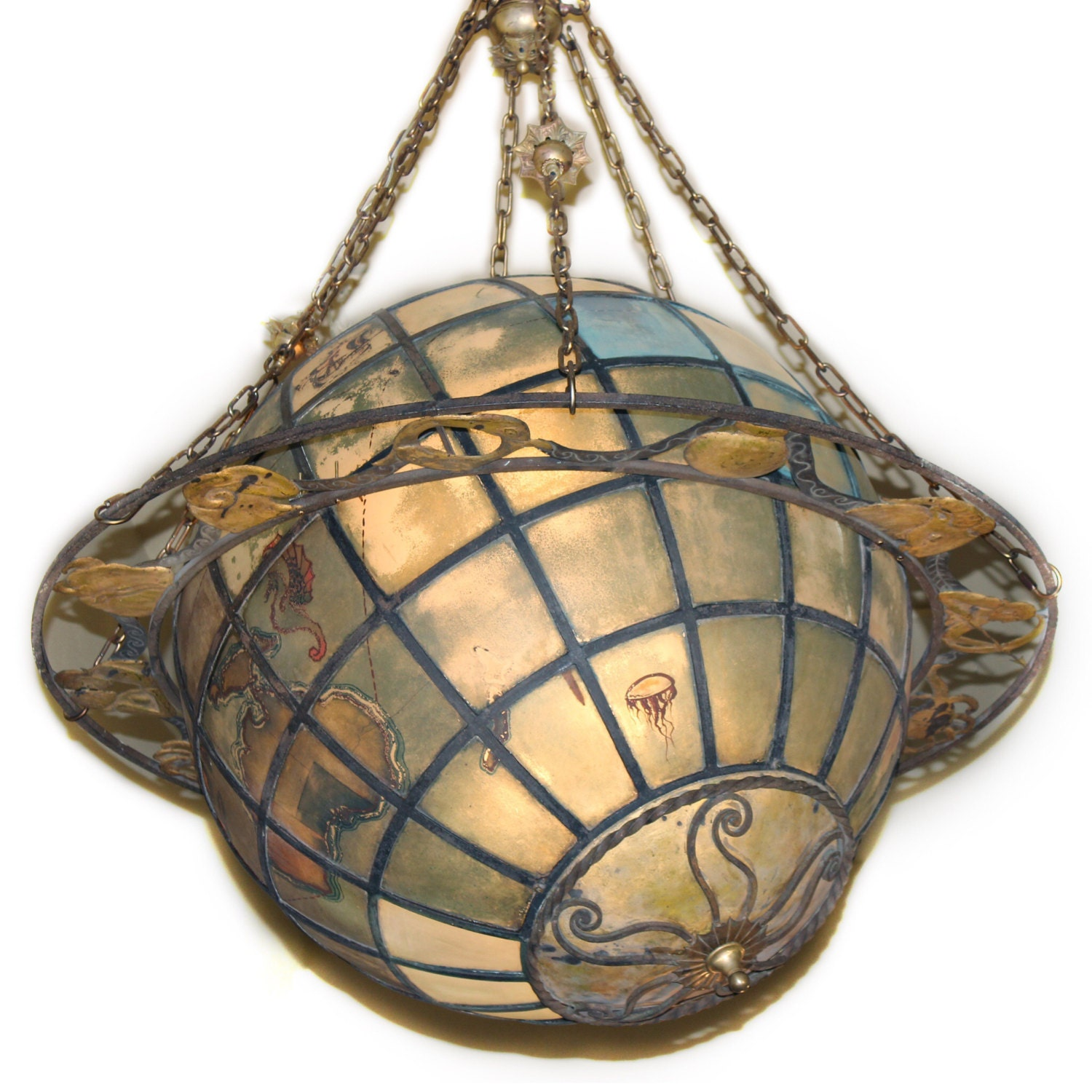 A4444 Vintage Historic World Globe Chandelier with Zodiac Ring
