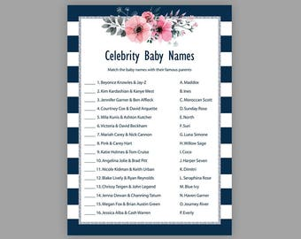 Blue Baby Shower Games, Navy Blue Silver, Celebrity Baby Name Game, Printable Baby Shower, Celebrity Baby Names, Blue White Stripes, S013