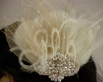 1920s Headpiece, Rhinestone, Pearl, Silver Beaded Bridal Ivory Feather Fascinator, Wedding Headpiece,  Bridal Fascinator, Gatsby Headpiece