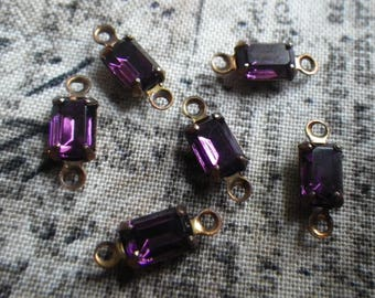 Vintage Swarovski Amethyst Purple 6x4mm Glass Octagon Brass Ox Connectors or Drops 6 Pcs