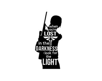 The Last of Us- Ellie - When you're lost in the darkness, look for the light - Quote - Fireflies Car, Phone, Laptop Decal