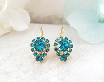 Blue Zircon Earrings - Blue Crystal Earrings - Blue Swarovski Earrings - December Birthstone Earring - Turquoise Rhinestone Jewelry E3369