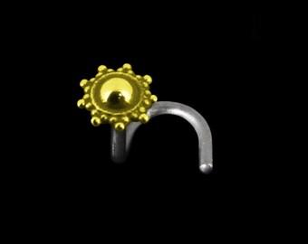 Indian Sun Titanium Nose Stud, titanium 14g 16g 18g, 20 ga titanium, titanium sleeper, dainty nose stud, tiny nose stud, titanium piercing,