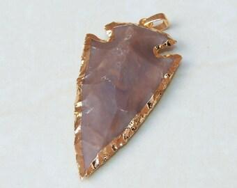 Natural Jasper Arrowhead Pendant. Arrow Pendant - Arrow Jasper Slab Bead - Jasper Pendant - Gold Plated Edge and Bail - 31mm x 59mm - 8379