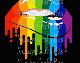 Digital file SVG and PNG  Gay Pride Lips
