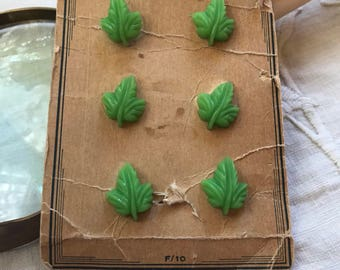 Vintage Card of 6 Vintage Leaf Buttons. Green. Latest Style.