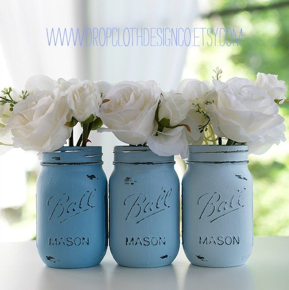 Blue Mason Jars Wedding Ideas: Painted Distressed Mason Jars Blue Baby Blue Beachy Blue