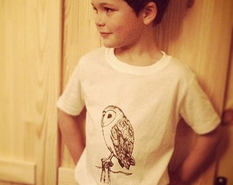 Kids Clothes, Kids Tshirt, Toddler Owl Shirt, Barn owl, Owl shirt, Hipster Kids Clothes, Barn owl, Bird shirt, Kids owl shirt
