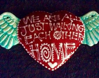 WInged Heart Ceramic Wall Art for Wedding, Anniversary or Birthday