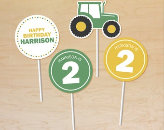 Tractor Cupcake Toppers Personalized, Tractor Party Decor, Printable Cupcake Toppers, Tractor Birthday Theme, Tractor Party Printable