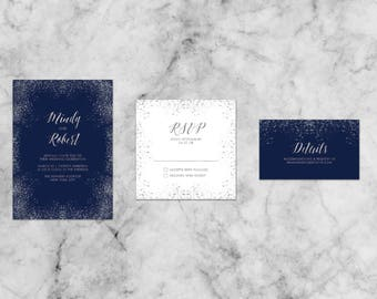 Mindy Simple Gold or Silver Letterpress Suite   Customized Wedding Invitation Template Set
