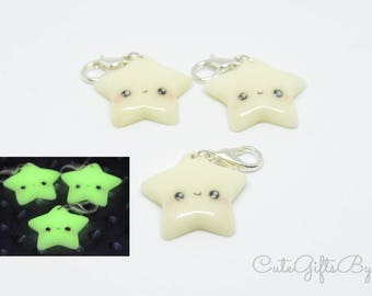 Cute kawaii star pendant night Glow//Polymer clay charm//jewelry//glow in the dark