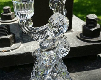 BEAUTIFUL! Hard-To-Find Mikasa Artisan Hollywood Regency Crystal Cupid Angel Candleholder.  Made in Germany.