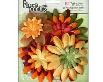 "Set of 25 flowers fabric fall ""petaloo"" embellishment scrap *."