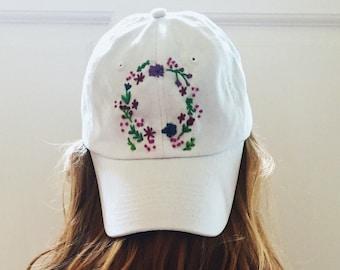 Custom Floral Embroidered Baseball Cap