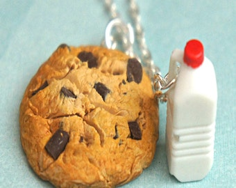 cookie and milk necklace-food necklace, food jewelry, miniature food