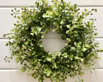 Farmhouse Style Faux Greenery Wreath | Eucalyptus Wreath  | Boxwood Wreath | Fixer Upper Style | Farmhouse Decor | Gallery Wall Wreath