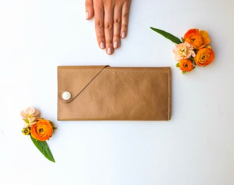 Leather iPhone Wrap Wallet - The Constance - Champagne (color variations available)
