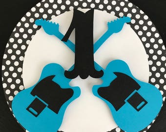 Rock n roll birthday decor , centerpiece , sign , high chair sign, polka dot